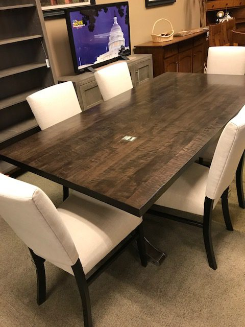 Strada 40 x78 curly maple table and 6 chairs