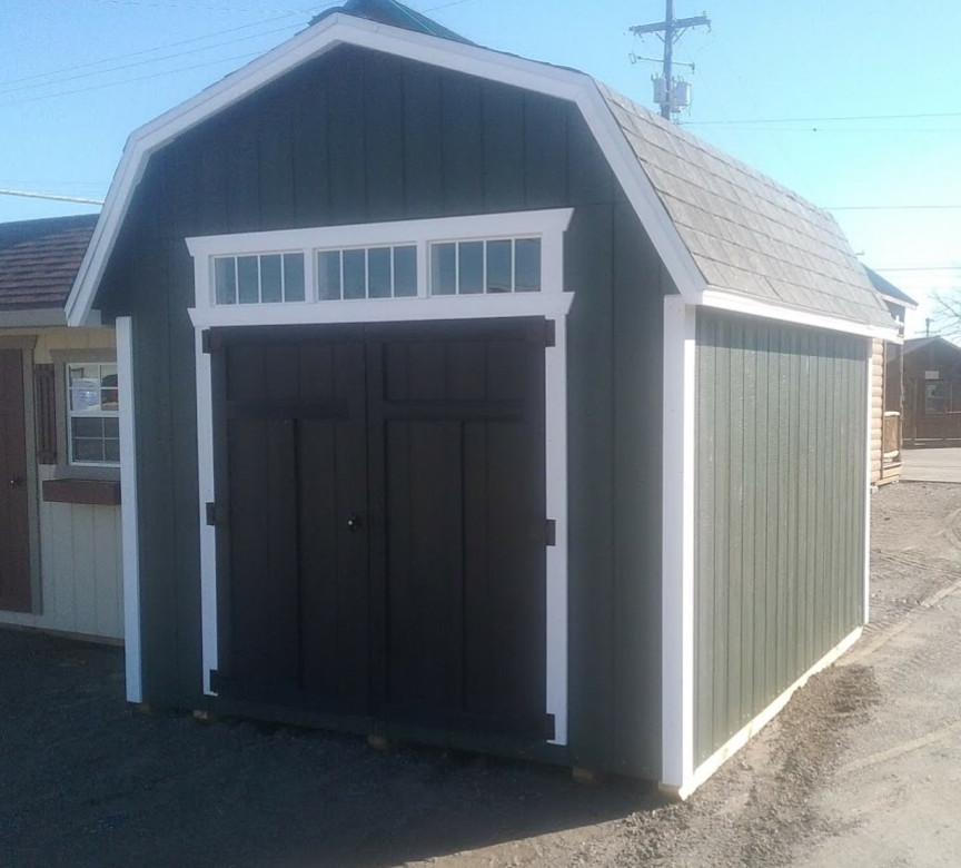 Shed, 10×12 mini barn with 6′ side wall. In stock